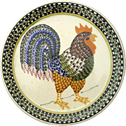 Large Signed Janet Rothwoman Pottery Rooster Charger