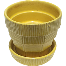 Vintage Signed McCoy Pottery Yellow Flower Pot