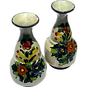 Pair Of Mid-Century Vintage Signed Cellini Italian Majolica Glazed Pottery Vases