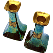 Pair Of P L Limoges French Iridescent Luster Candle Holders