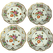 Set Of Four Vintage Dresden Pierced Floral Porcelain Plates