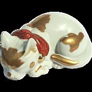 Early Vintage Japanese Kutani Porcelain Sleeping Cat