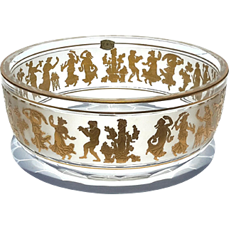 Val St Lambert Gold Decorated Danse De Flore Bowl
