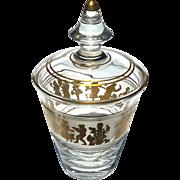 Val St Lambert Gold Decorated Danse De Flore Lidded Ice Bucket