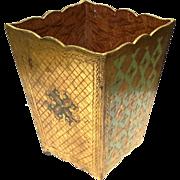 Vintage Italian Florentine Large Gilt Wood Waste Can