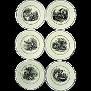 Antique Set Of Six Utzchneider & Co Sarreguemines France Transferware Plates