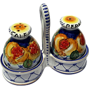 Vintage Signed Italian Deruta Majolica Pottery Salt & Pepper Set