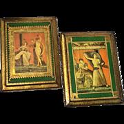 Vintage Pair Of Italian Florentine Gilt Wood Plaques