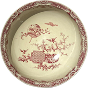 Large 19th Century Red And White Transferware Bowl