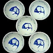 Set Of Five Vintage Chinese Blue & White Porcelain Koi Fish Bowls