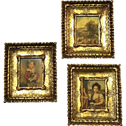 Set Of Three Vintage Italian Florentine Gilt Wood Pictures