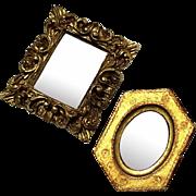 Vintage Set Of Two Italian Florentine Gilt Wood Mirrors