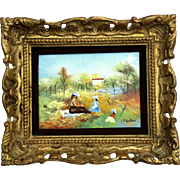 Signed Vintage Enamel Painting On Copper By J. Lesker