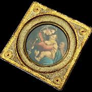 Early Vintage Italian Florentine Gilt Wood Framed Madonna & Child