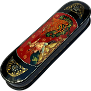 Signed Vintage Russian Lacquered Pen Box