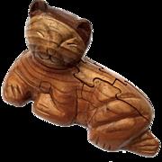 Vintage Wooden Cat Puzzle Figure