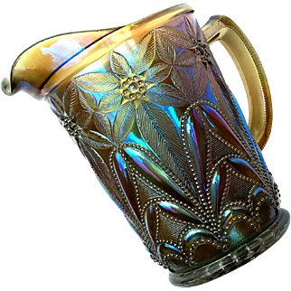 Blue Iridescent Carnival Glass Floral Pitcher