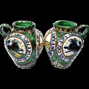 Pair Of Antique Italian Majolica Pottery Jugs