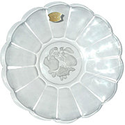 Vintage Signed Val St Lambert Crystal Serving Dish