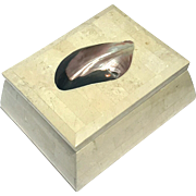 Maitland Smith Tessellated Stone Box With Mother Of Pearl Shell