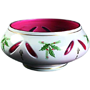 Vintage Signed Limited Edition Gorham Bohemian Glass Christmas Bowl