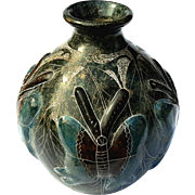 Native American Burnished Butterfly Pottery Vase