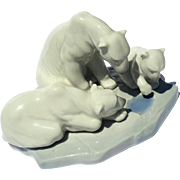 Vintage Signed Lladro Figure Of Three Polar Bears
