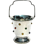 Vintage Jeweled Silverplated Ice Bucket