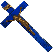 Mid-Century Vintage Blue Mirrored Wood Crucifix