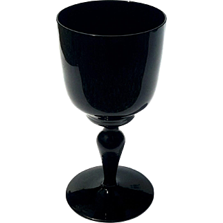Set Of Twelve French Black Opaline Wine Glasses