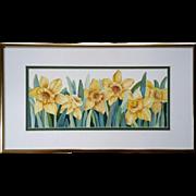 Signed Carolyn McCauley Original Daffodil Watercolor Painting