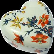 Vintage Signed French Limoges Porcelain Heart Box