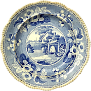 Early 19th Century English Blue & White Transferware Plate