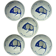 Set Of Five Vintage Chinese Blue & White Porcelain Koi Fish Bowls