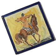 Vintage Hand-Painted Equestrian Pottery Tile