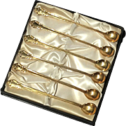 Set Of Six Vintage Gold Plated Shell Iced Tea Spoons
