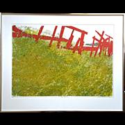 Vintage Signed Albert Garvey Serigraph Titled 'Red Fences'