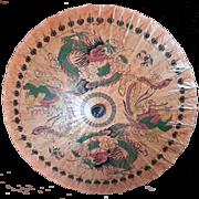 Vintage Hand-Painted Phoenix & Dragon Asian Bamboo Sun Umbrella