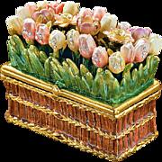 Jeweled And Enameled Gold Metal Tulip Trinket Box