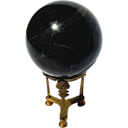 Vintage Marble Sphere On Brass Stand