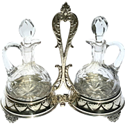 Vintage Signed Spanish Silverplate And Cut Crystal Cruit Set