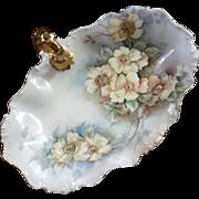 Antique French Limoges Porcelain Handled Floral Dish