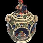 Antique German Stoneware Biscuit Jar With Wine Grape Harvest Motif