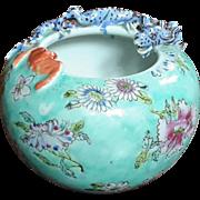 Antique Chinese Famille Verte Porcelain Bat And Dragon Vase