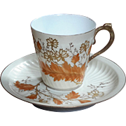 Antique P H Leonard French Limoges Porcelain Demitasse Cup & Saucer