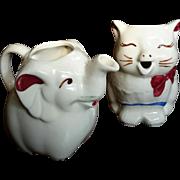 Vintage Pair Of Shawnee Pottery Cat & Elephant Cream Pitchers