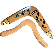 Two Vintage Signed Aboriginal Wooden Boomerangs