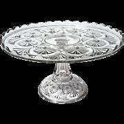 Early American Pattern Glass Pinwheel Cake Stand