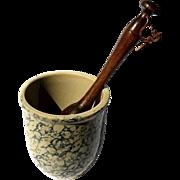 Vintage Spongeware Pottery Mortar And Wood Pestle