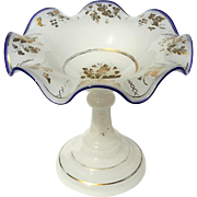 19th Century French White Opaline Glass Pedestal Bowl